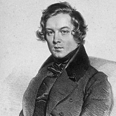 [Robert Schumann from a lithograph by Josef Kriehuber in 1839]